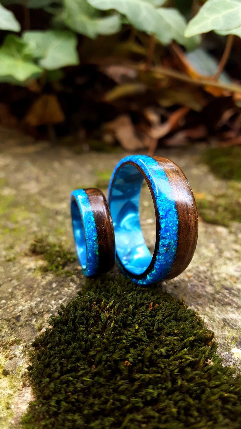 Fumed Eucalyptus Bentwood with Crushed Ocean Blue Opal on