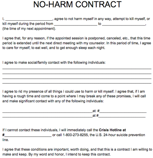 NoHarm Contract  Counseling    Notes Template Social