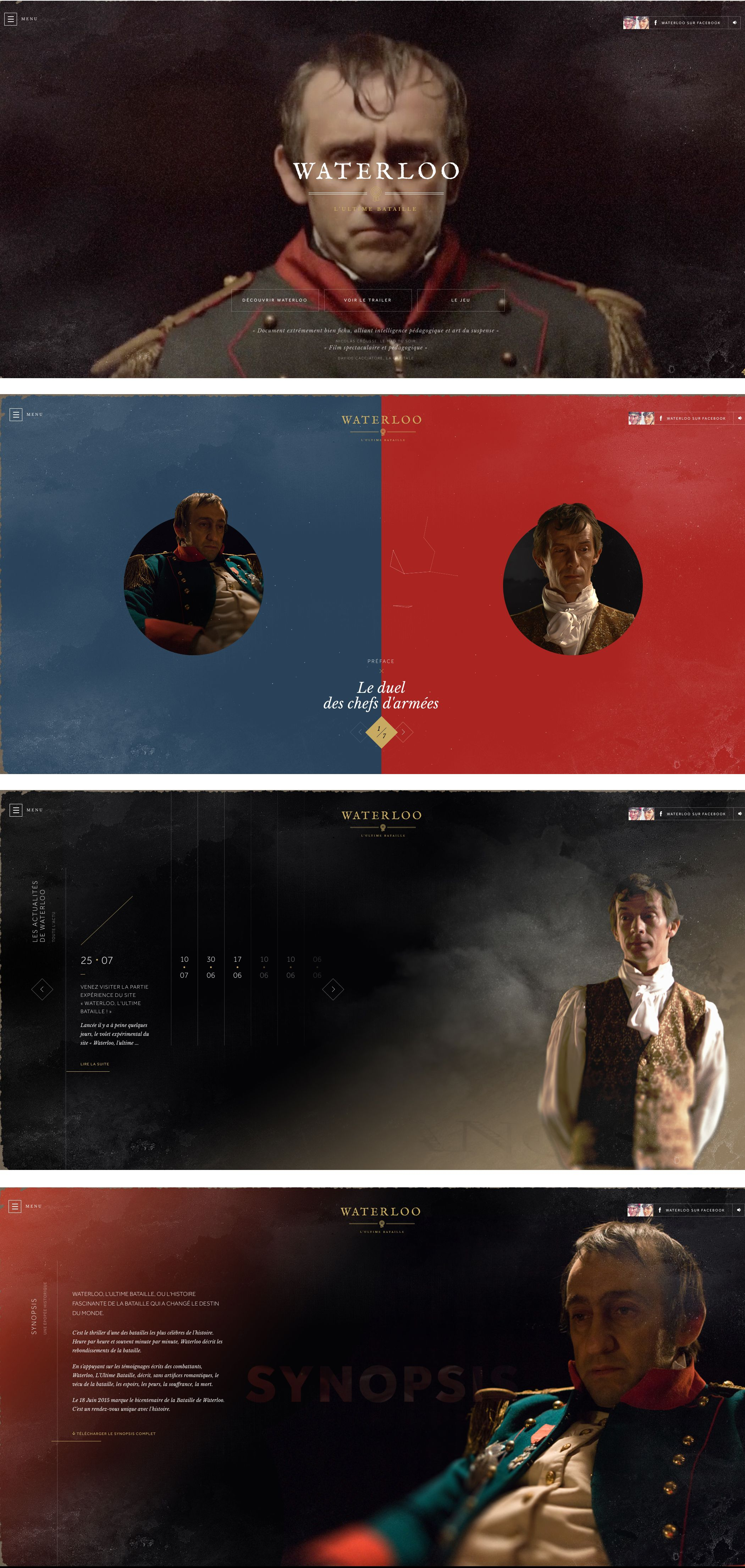Beautifully executed site for French TV drama Waterloo. Classic. #web #inspiration