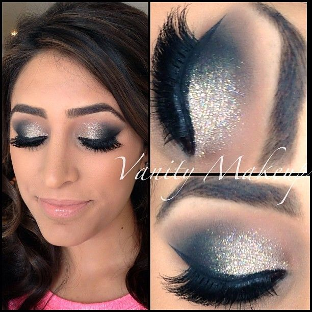 Makeup forever opal glitter mixed with a little silver
