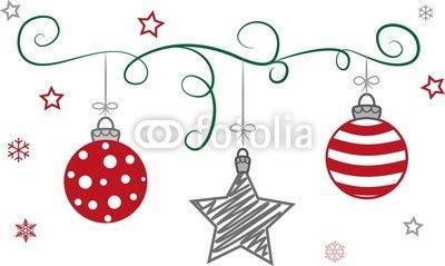 weihnachtskugeln und weihnachtsstern am band gezeichnet. Black Bedroom Furniture Sets. Home Design Ideas