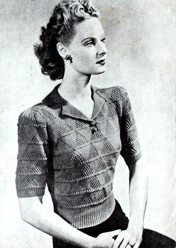 Vintage Women\'s Lacy Jumper, 1940\'s knitting pattern. | Purls of ...
