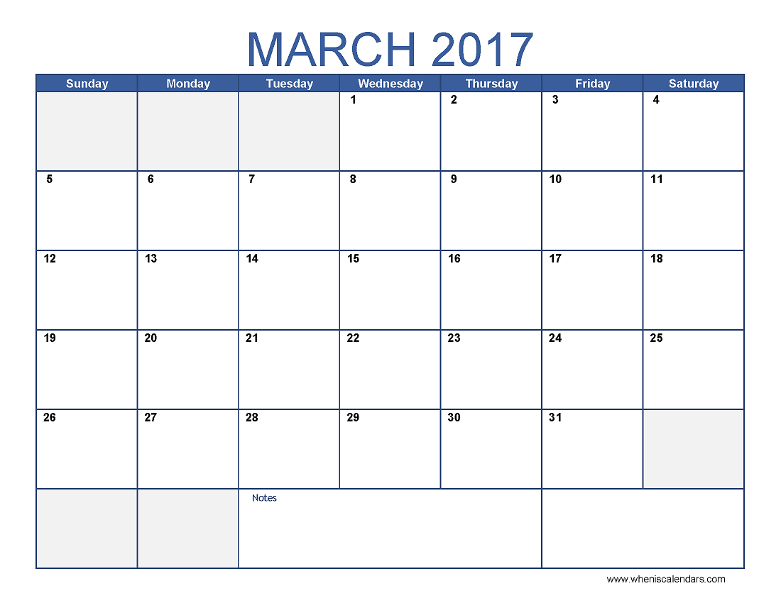 March  Calendar Template Printable Monthly Calendar  Calendar