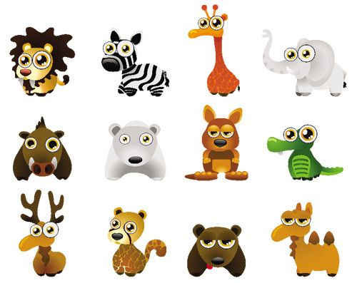 Baby Animal Drawings Google Search Wild Animals Vector Baby Zoo Animals Cute Cartoon Animals
