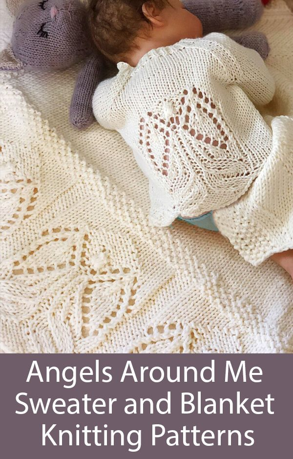 Knitting Patterns for Angels Around Us Baby and Child Cardigan and Blanket