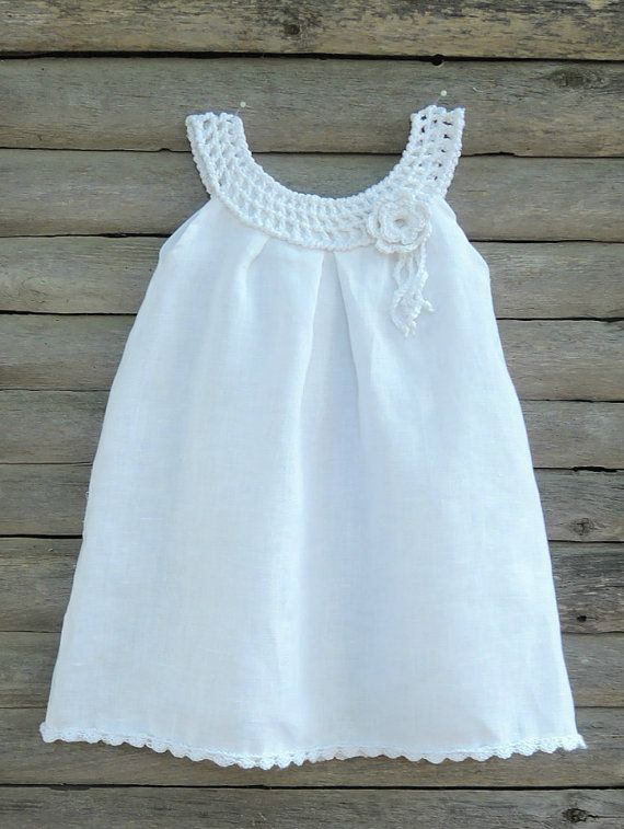 Milk color organic baby, Toddler, girl dress with a hand crocheted white collar and flower brooch
