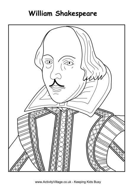William Shakespeare Colouring Page William Shakespeare William