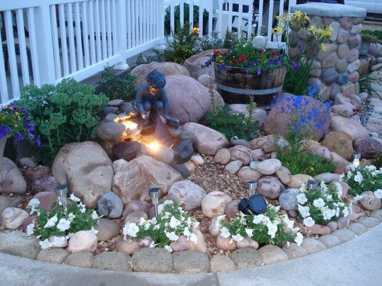 border garden sidewalk | Rock garden with small fountain. Hypertufa ...
