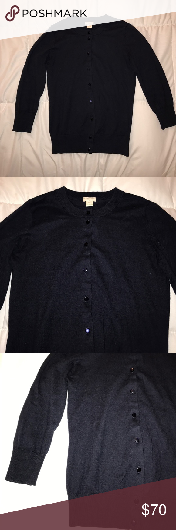 """J.Crew Navy Clare Cardigan XS Navy """"the Clare"""" Cardigan. Crew neck. 3/4 sleeves. Size XS. 100% cotton. Measured across: shoulder to shoulder 12.5in, armpit to armpit 17in, waist 14in, sleeve length 16.5in, length 20in J. Crew Sweaters Cardigans"""