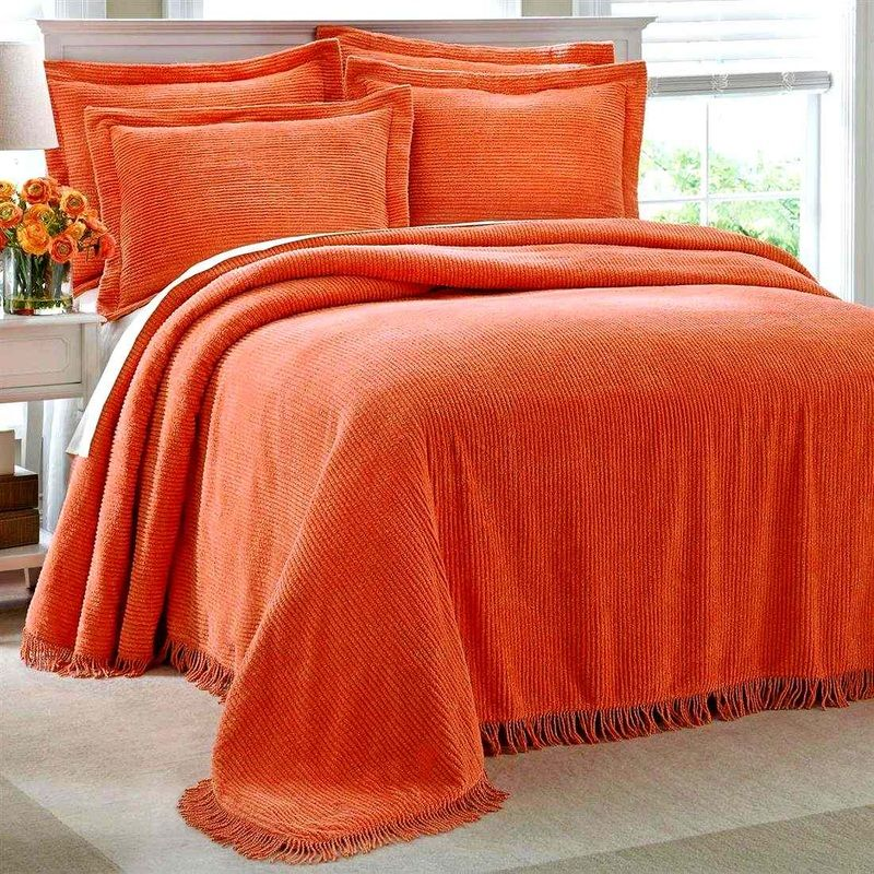 Orange Chenille Bedspread With Orange Pillow Shams.