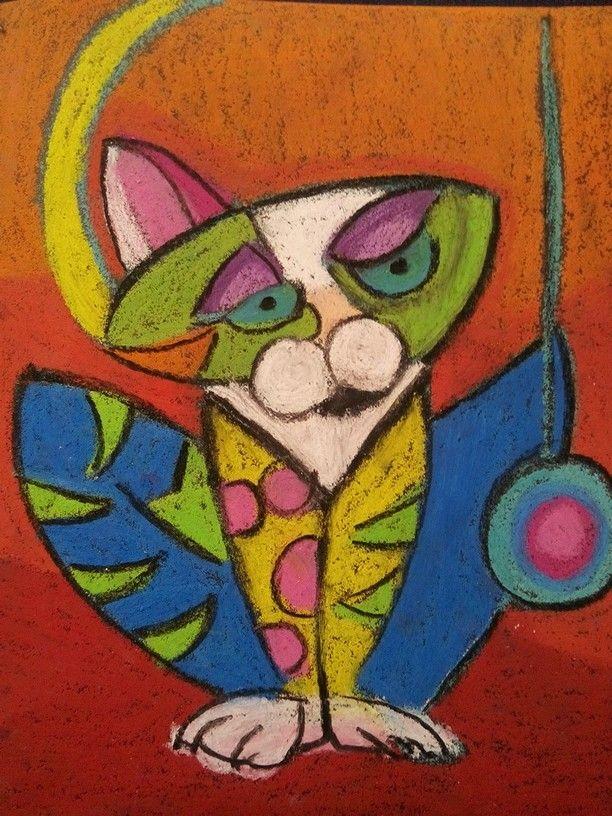 Zimpara Kedi Pastel Boyalar Pastel Resim