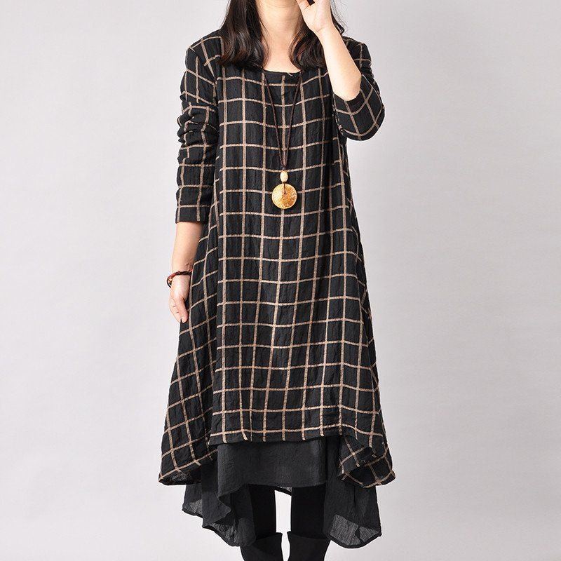 a4b95db259a Women Cotton Linen Loose Fitting Long Sleeve Dress - Buykud - 1 Seriously  considering buying this one. Probably would be disappointed