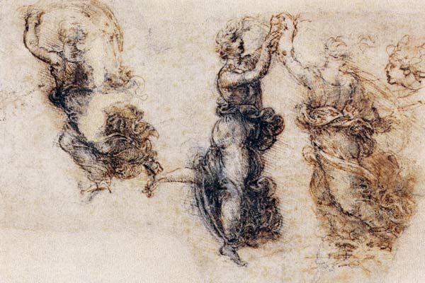 Contour Line Drawing Leonardo Da Vinci : Leonardo da vinci study of dancing figures art