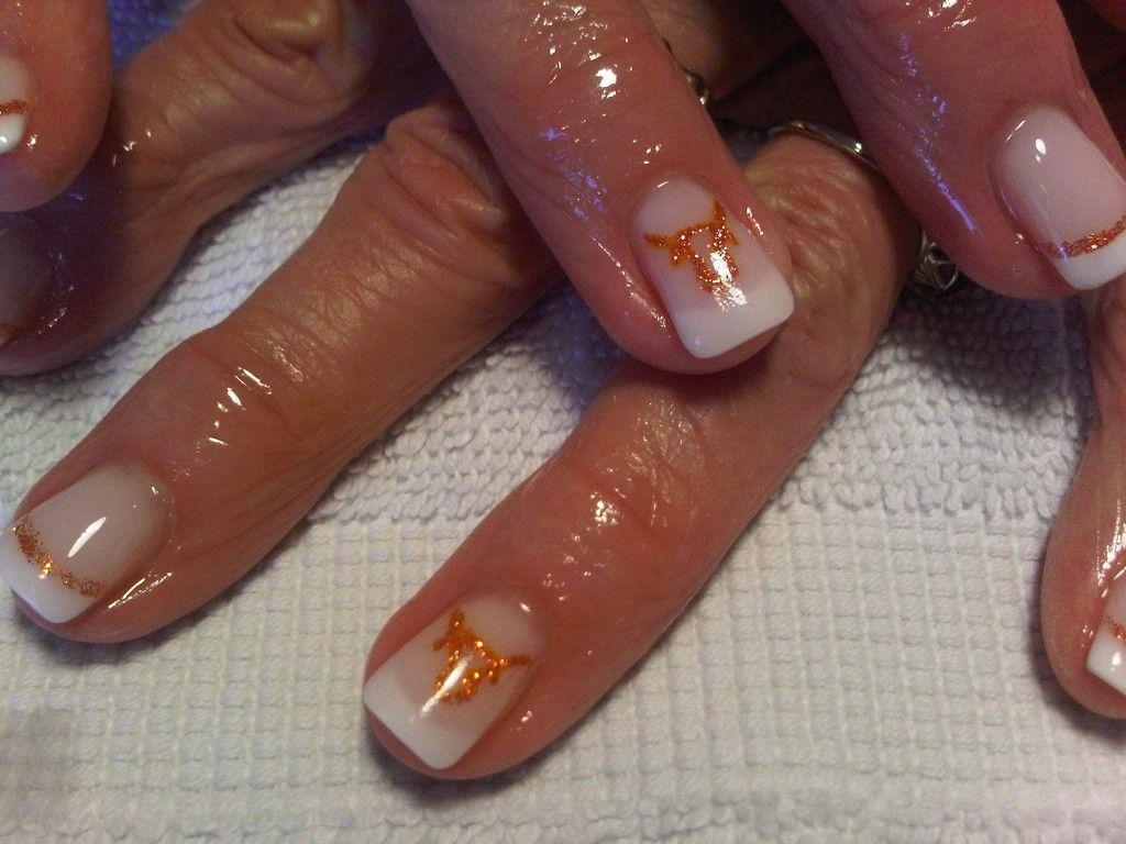Texas longhorns on gel nails | Nails 4 u | Pinterest | Texas ...