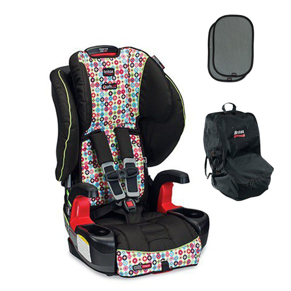 Britax Frontier G1.1 Clicktight Harness-2-Booster Car Seat w Car Seat Travel Bag & 2ct EZ-Cling Sun Shades (Kaleidoscope). Click tight installation system ensures that everyone can install the car seat securely and confidently by just buckling the seat belt. Safe cell impact protection is an integrated system of safety components, including an impact absorbing base, tether and harness, an impact stabilizing steel frame, and complete side impact protection plus. Safe cell complete side…