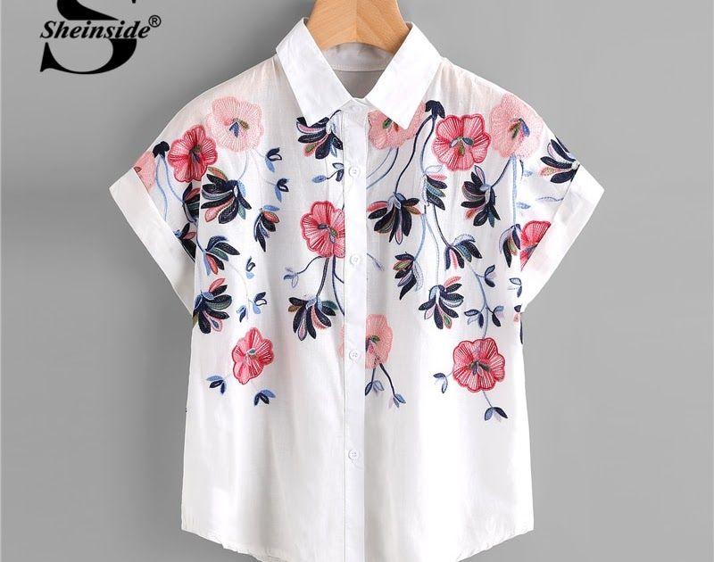 03b6a0e47c7 Cheapest Sheinside White Floral Embroidery Shirt Women Roll Up Sleeve  Button Top 2018 Summer Short Sleeve Office Work Wear Elegant Blouse