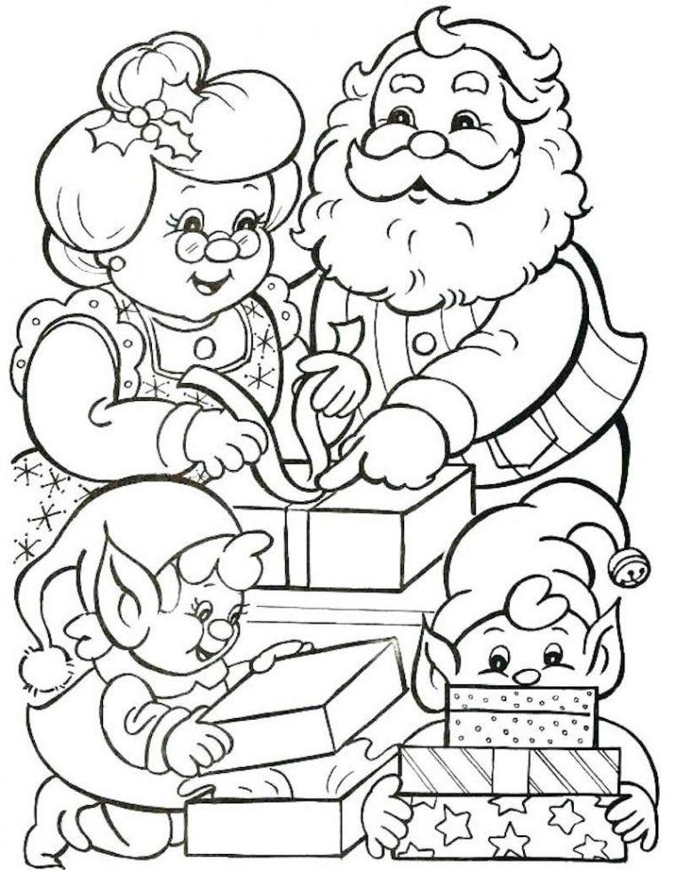Coloriage Mere Noel | Malebøger, Idéer til tegning, Juletræ pynt