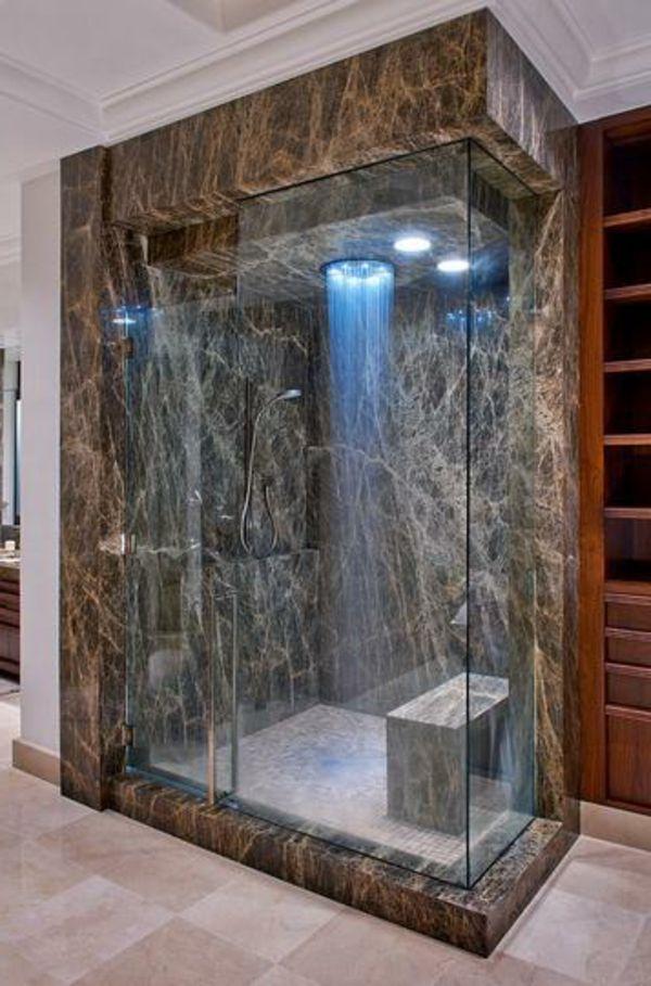 kleines badezimmer - marmor- mit einer duschkabine aus glas - 21 ...