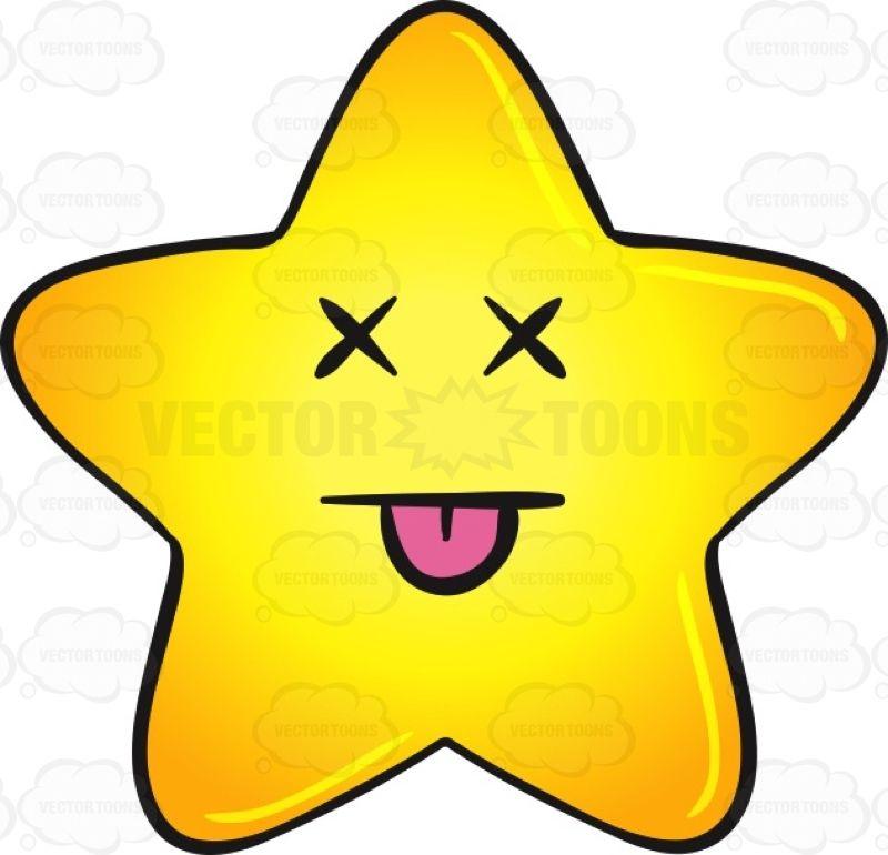 knocked out gold star cartoon emoji vector illustrations