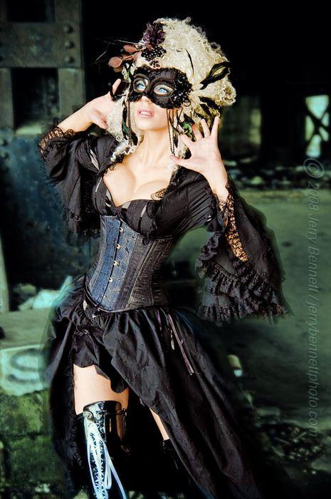 Black corseted masquerade attire & Black corseted masquerade attire | Holiday decoration/food ...