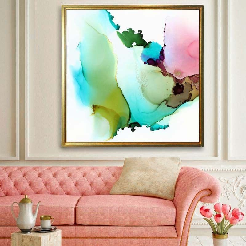Embellished Mint Green Abstract Giclee Art Print Contemporary Etsy Giclee Abstract Green Paintings Giclee Art Print