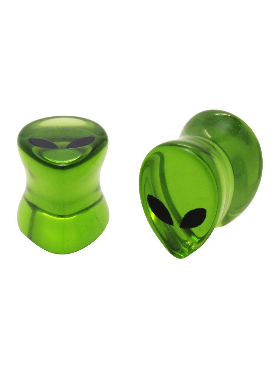 Take your jewelry out of this world with alien head plugs! These green glass plugs are shaped like alien heads with the classic eyes printed on the front.
