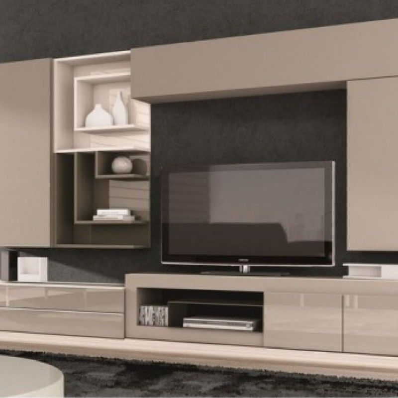 Meuble tv design taupe juana living room inspiration for Meuble tv mural design belgique