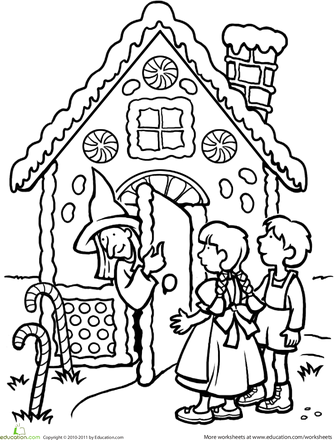 Color The Hansel And Gretel Scene Worksheet Education Com Coloring Pages Fairy Tales Fairy Tale Theme