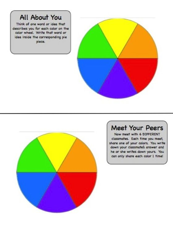 Getting to Know You Color Wheel Activity