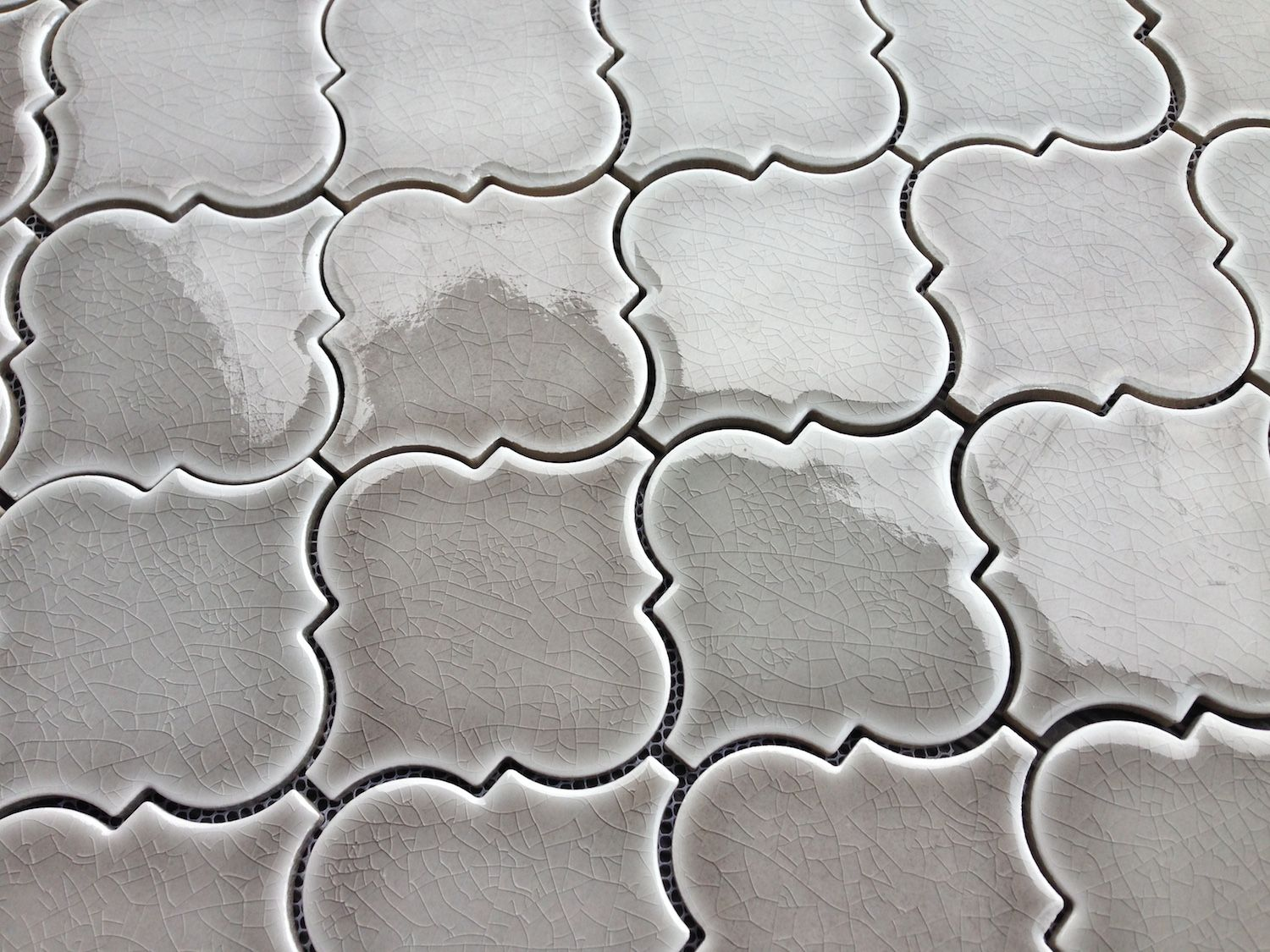 Best 9 79Sf Dove Gray Arabesque Glazed Ceramic Mosaic Tile 400 x 300