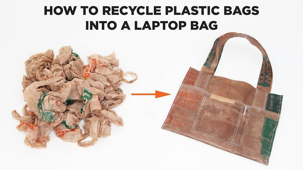 How To Recycle Plastic Bags Into A Laptop Bag Youtube Recycled Plastic Bags Plastic Bags Diy Diy Laptop Bag