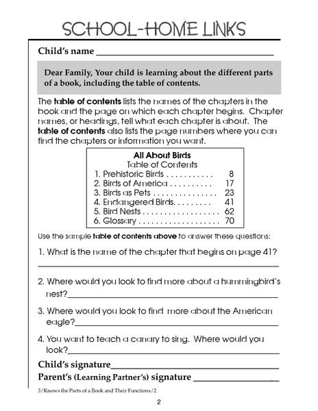 Table Of Contents 2nd 3rd Grade Worksheet Lesson Pla Text Features