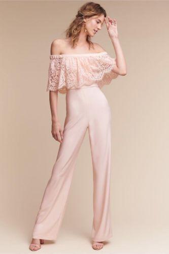 fbaeca7122ee BHLDN Mila Jumpsuit Sz 4 Theia Blush Pink Lace Wedding Bridal Cocktail NWT   280