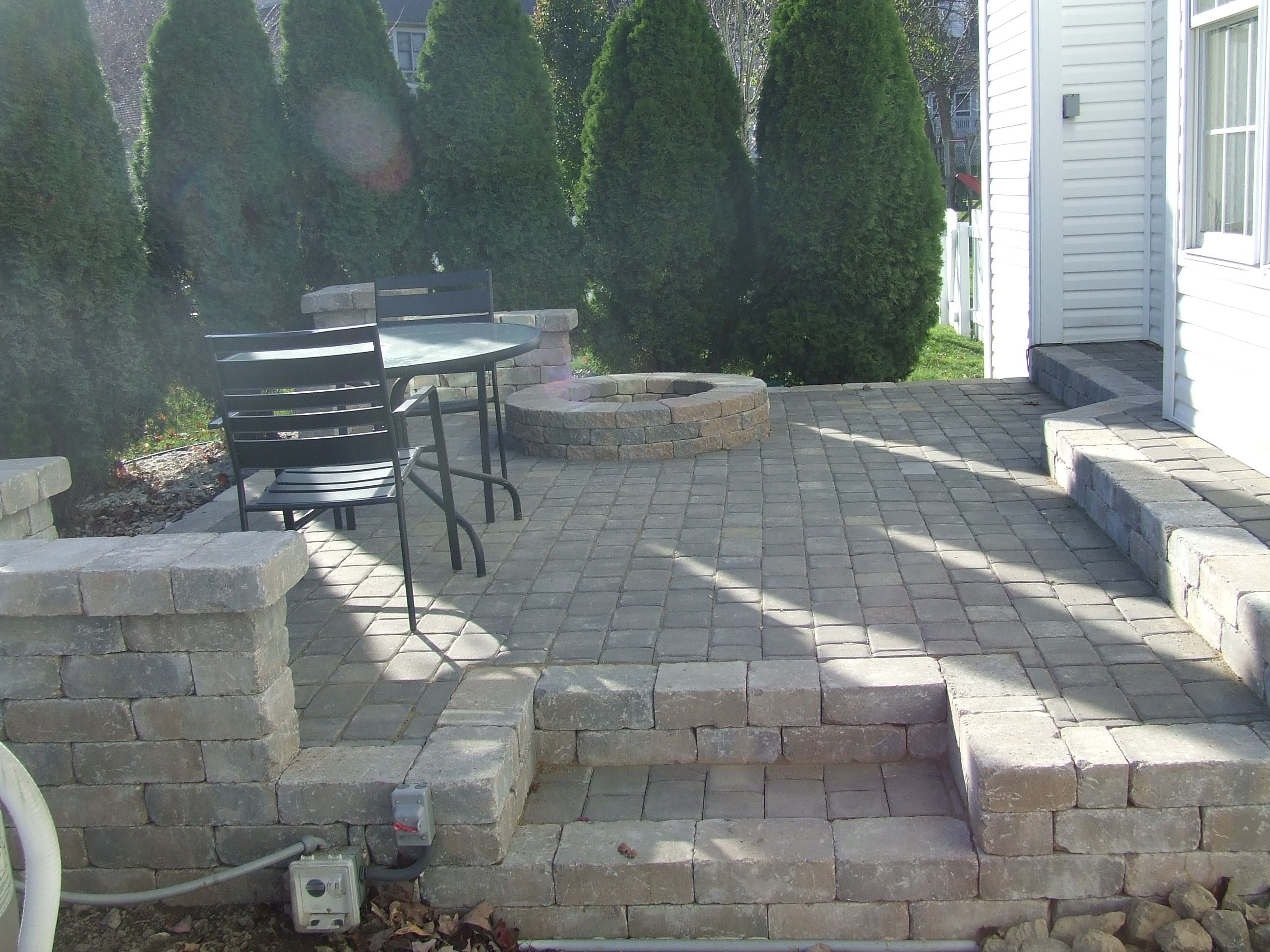 Paver Patio with fire pit. | Outdoor fire pit, Fire pit ... on Paver Patio Designs With Fire Pit id=87021