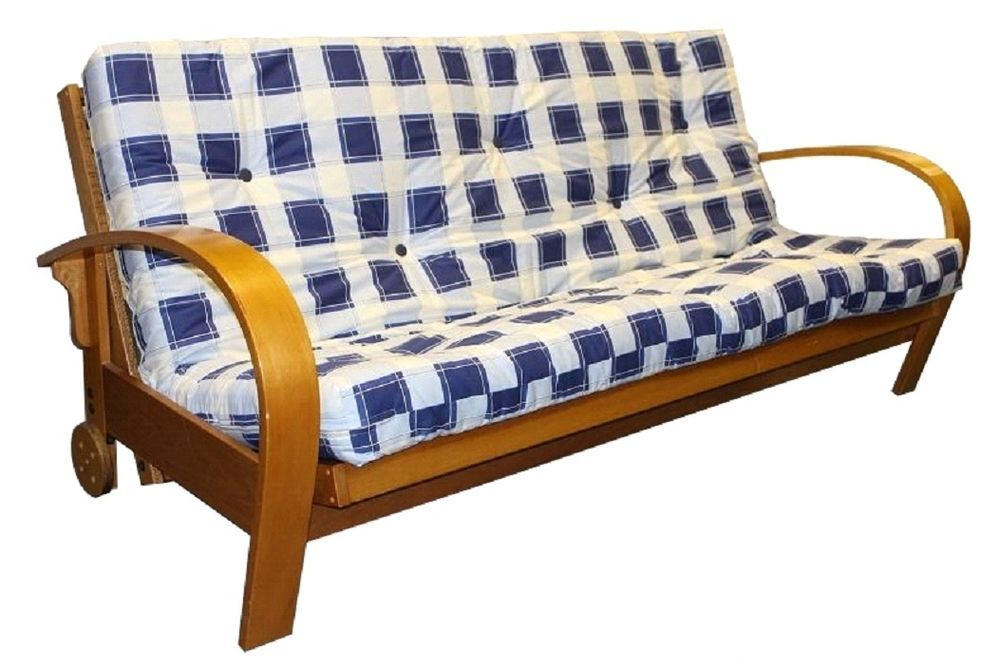 Double Solid Wood Futon Sofabed Frame Wooden Sofa Bed Base Only