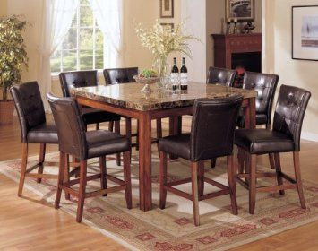 Acme 07380b Bologna Marble Top Counter Height Table Brown Furniture Dec Granite Dining Table Marble Top Dining Table Dining Room Furniture Sets