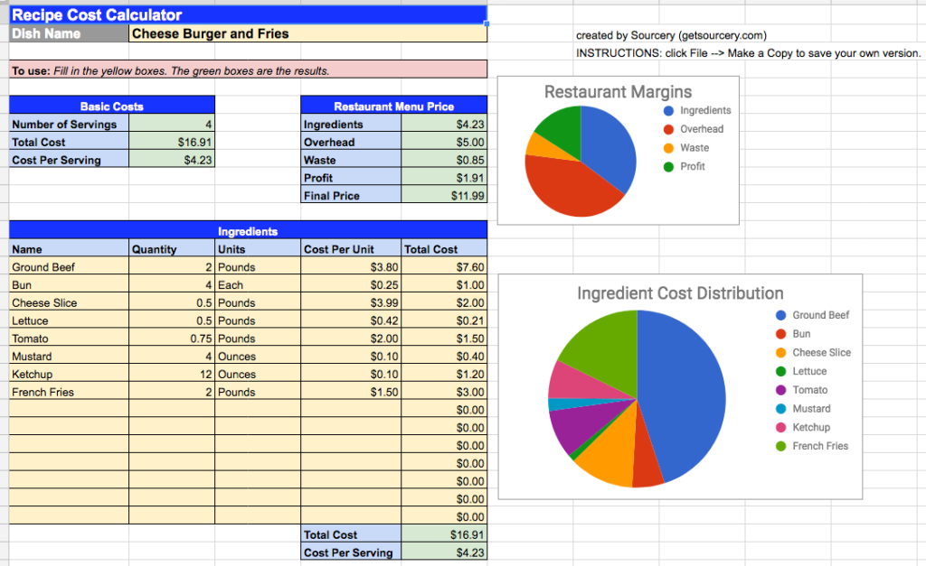 Recipe Cost Calculator Spreadsheet Food Cost Recipes Spreadsheet