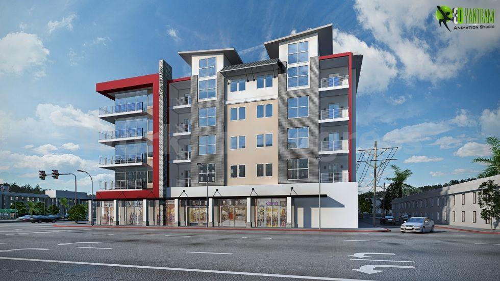 High Rise Modern Commercial Building Exterior Design - 3D Exterior Rendering CGI Design - CG Gallery & High Rise Modern Commercial Building Exterior Design - 3D Exterior ...