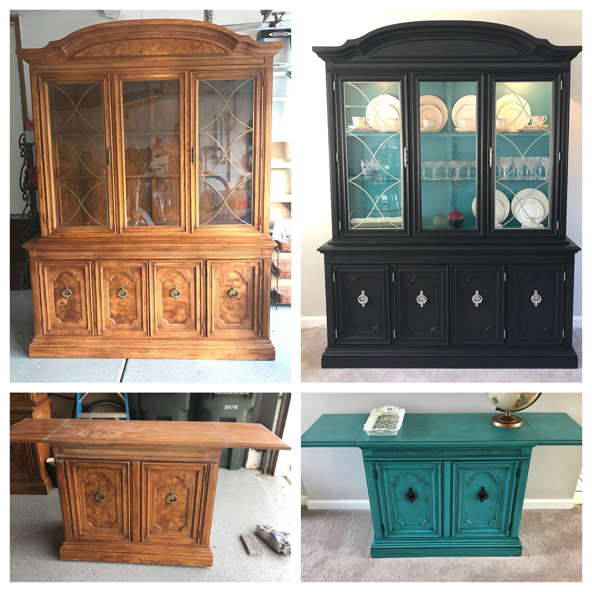 Diy Hutch And Matching Buffet My First Sanding Only No Primer Used Valspar Furniture Paint