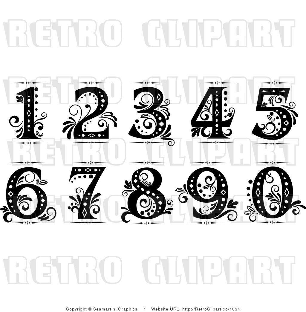 Old cursive numbers fancy clip art drawing