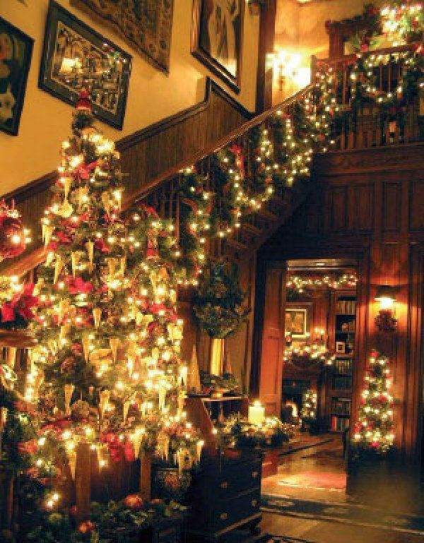 Christmas lights against dark Victorian woodwork. - Christmas Lights Against Dark Victorian Woodwork. Victorian
