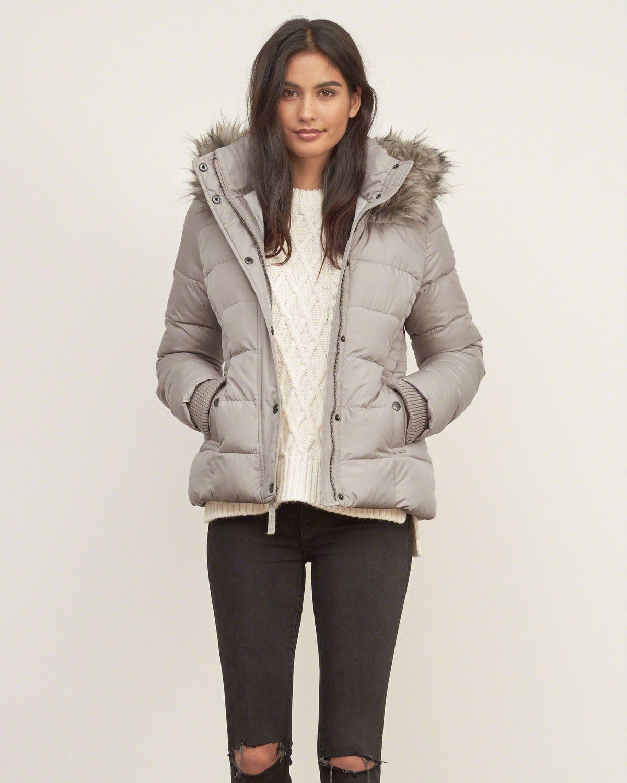 Womens A&F Premium Puffer Jacket Womens Outerwear