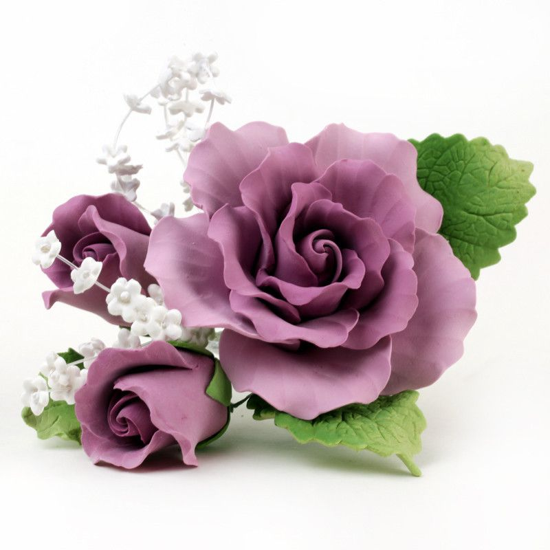 Mauve gumpaste rose sugarflower sprays with green leaves for Flower sprays for weddings
