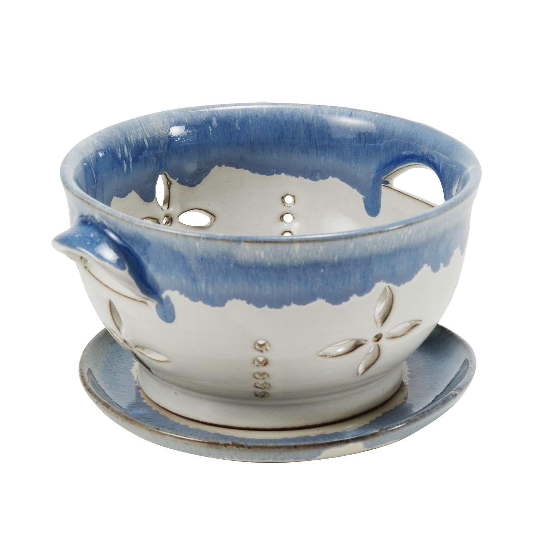 Ceramic colander blue and white berry colander