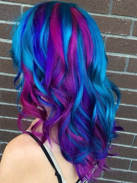 Blue Purple Streaked Dyed Hair Love It