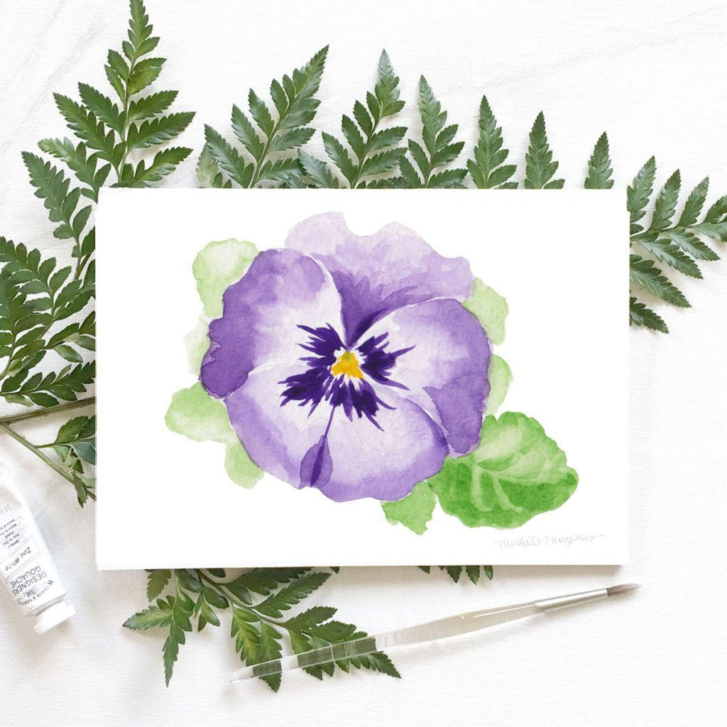 How To Paint A Pansy Flower In 6 Seconds Mospens Studio Custom Wedding Invitations Stationery Pansies Flowers Floral Watercolor Flower Art