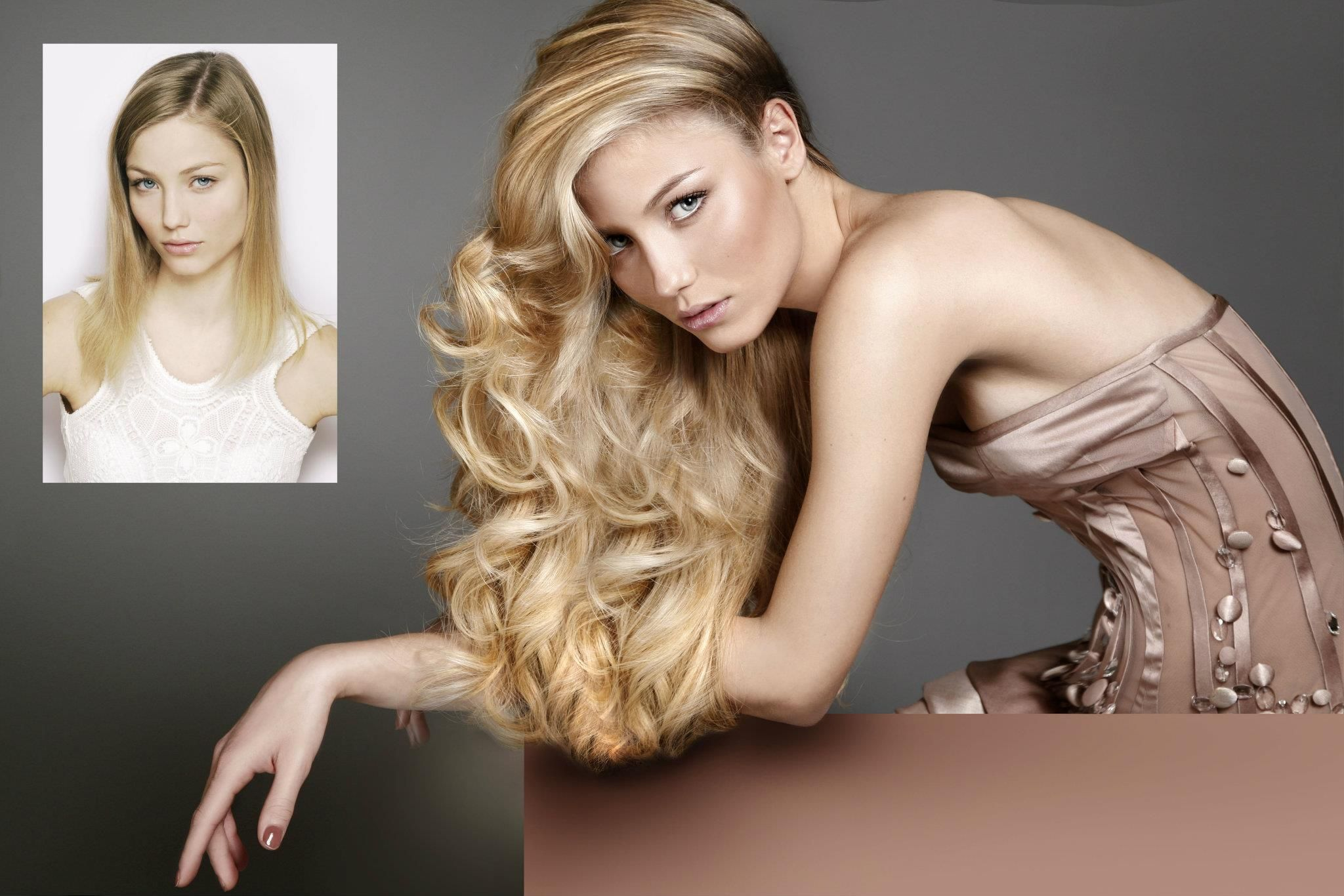 Great Lengths Hair Extensions Beautiful Blonde Before After Model Veronika