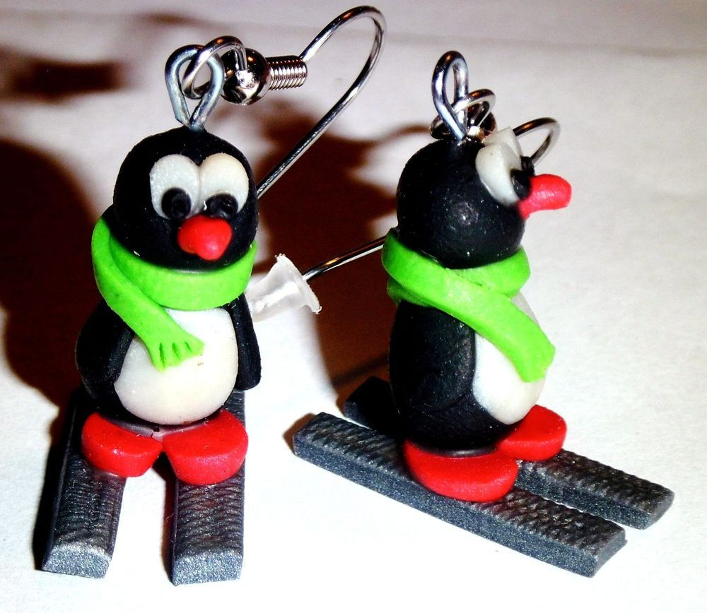 Ohrstecker Pinguin Tiere Damen Ohrringe Ohrschmuck Modeschmuck Fimo Schwarz Weiß