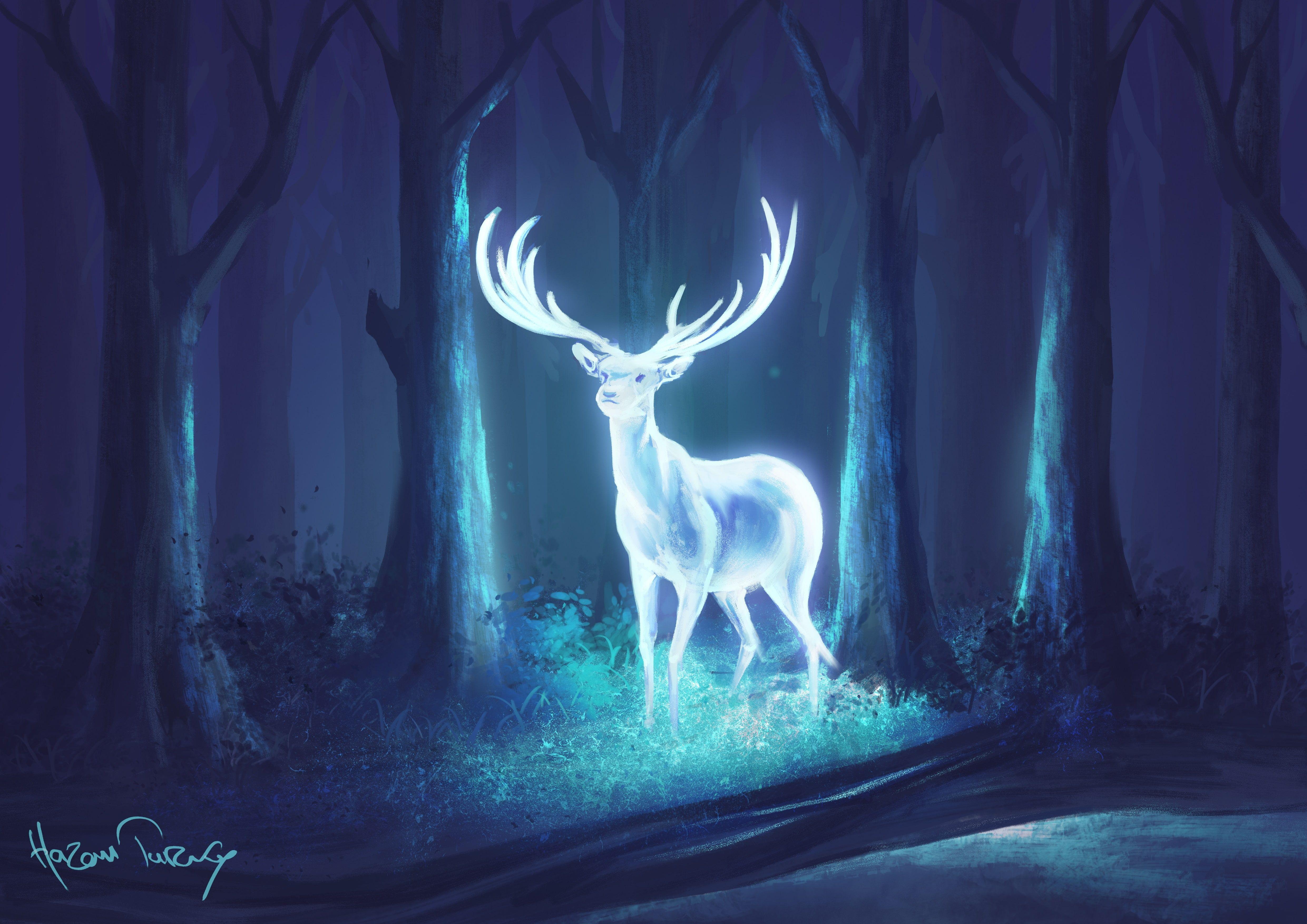 digital art deer forest neon fantasy art blue 4K