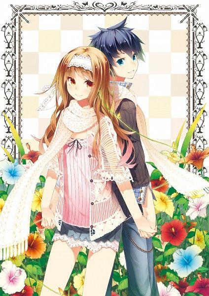 Tags: Anime, Katou Itsuwa, flor blanca, flor amarilla, espalda con espalda, Flor anaranjada, Flor rosada